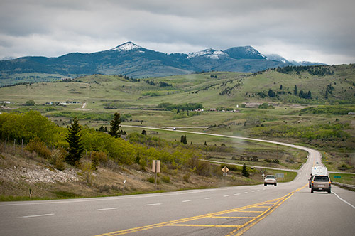 approaching Crowsnest Pass (through a dirty windshield)