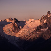 Sunrise over the Bugaboos - from the Lodge.