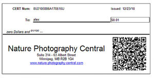 gift certificates for Photographers